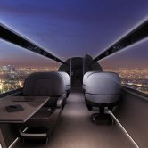 Cabin Interior of the IXION Windowless Jet Concept Flying Over Paris