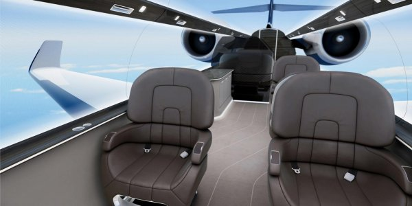 Cabin Interior of the IXION Windowless Jet Concept