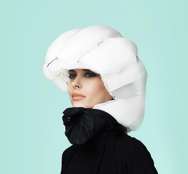 Woman Wearing an Inflated Hovding Airbag for Cyclist