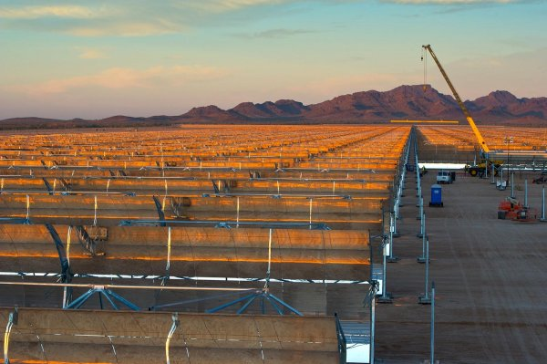 Field of Parabolic Trough Collectors During Installation at Solana Plant