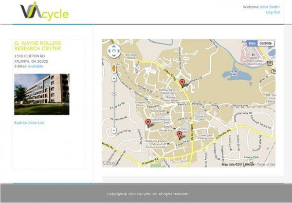 viaCycle Web App Map with Bicycle Locations