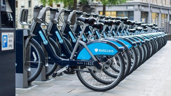Barclays Cycle Hire Docking Station at St Mary Axe - London