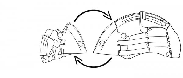 Unfolded vs. Folded Overade Helmet for Cyclist - Concept Drawing