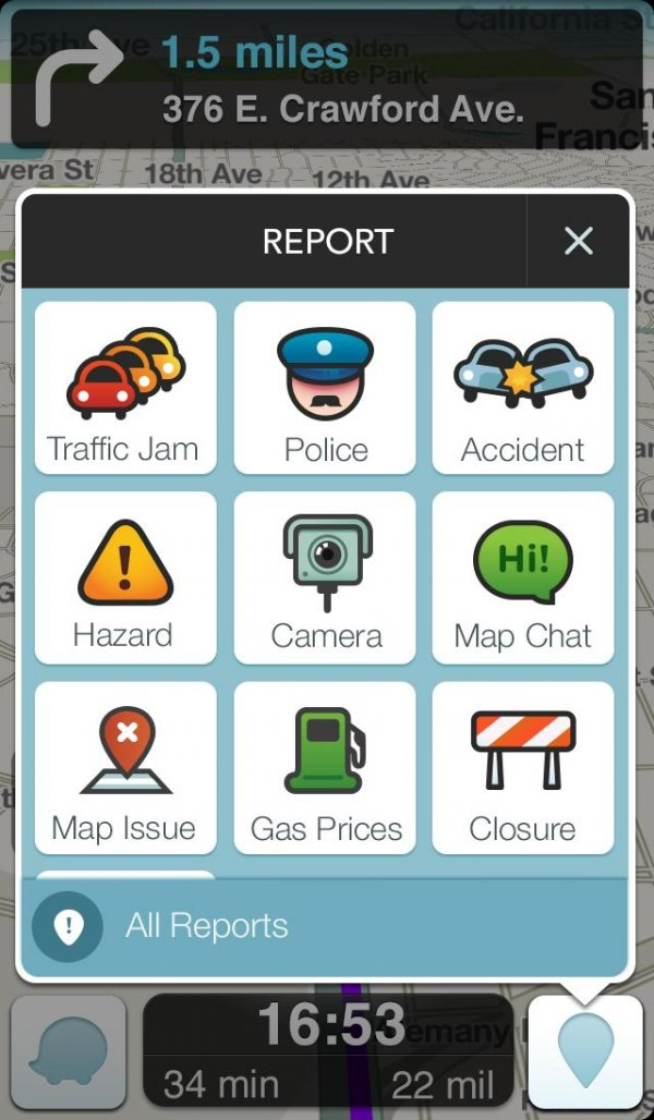 Report Menu of Waze App