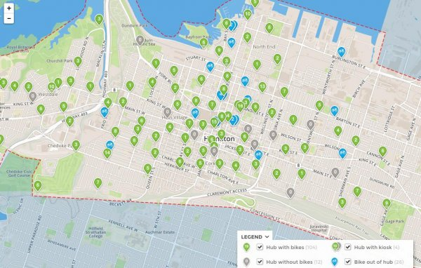 Map of Available Social Bicycles in Hamilton - Ontario