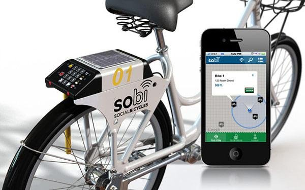 GPS-Enabled Lock with Solar Panel - SoBi Social Bicycles