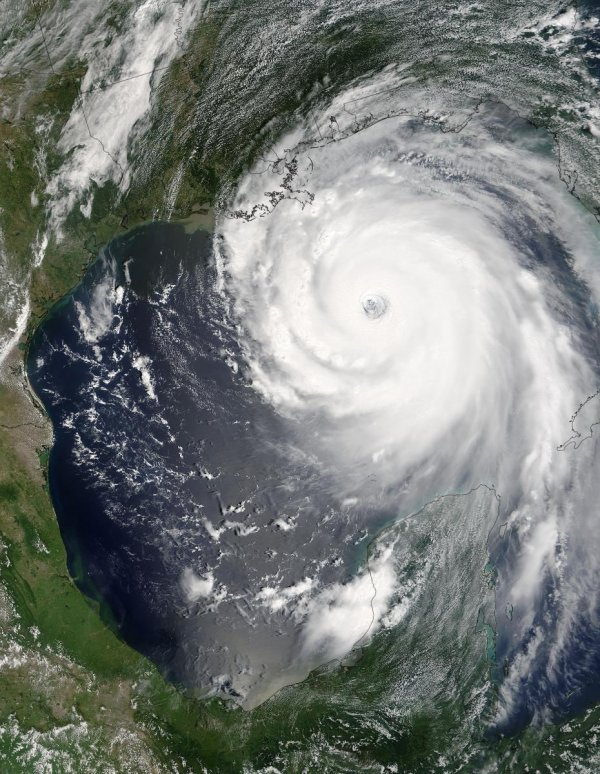 Hurricane Katrina Approaching the Gulf Coast of USA